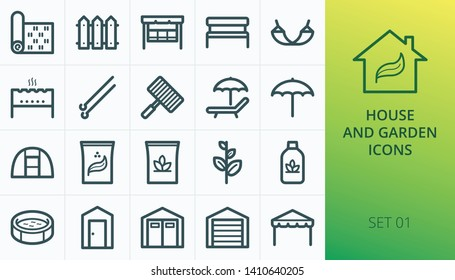 House and garden icons set. Set of garden lawn grass roll, wooden fence, bench, shed, tent, pool, greenhouse, mangal garden swing chair icons