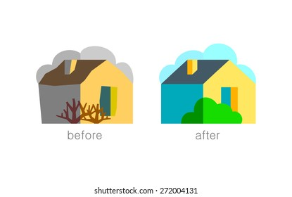 House with garden, Property icon, vector, flat design illustration, vector