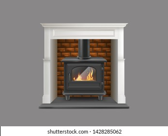 House gas-powered fireplace with white marble stone mantel, brick firepit and flame inside of modern steel stove with glass door and chimney realistic vector illustration isolated on grey background