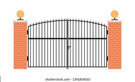 House gate vector. wallpaper. free space for text.