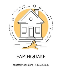House and ground destruction, earthquake, natural disaster isolated icon vector. Quake or tremor, Earth surface shaking, soil cracked in half. Danger and life threat, environmental problem, ecology