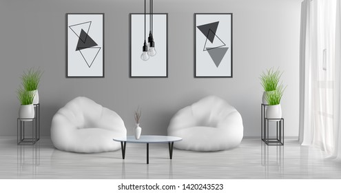 House hall, modern apartment sunny living room 3d realistic vector interior with coffee table near two beam bag chairs in middle of room, paintings, photo frames on grey wall, flowerpots illustration