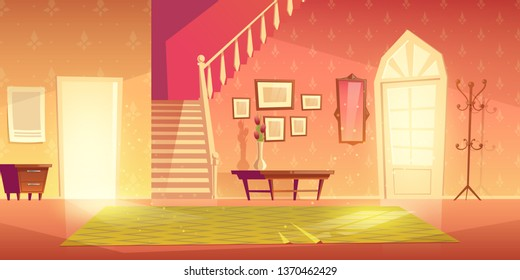 House hallway entrance interior with stairs and furniture. Bright apartment background with door, mirror, hanger, carpet, flower in vase on table lightened with sun rays. Cartoon vector illustration.