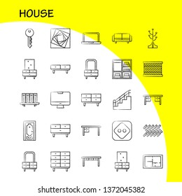 House Hand Drawn Icon for Web, Print and Mobile UX/UI Kit. Such as: Couch, Furniture, Sofa, Interior, Chest, Drawer, Furniture, Keep, Pictogram Pack. - Vector