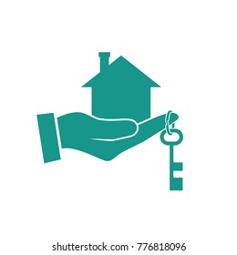 House in hand icon. Real estate agent holds the key from home. Concept of selling, renting template. Vector illustration flat design. Silhouette, pictogram. Giving keys.