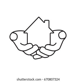 House in hands linear icon. Home loan. Thin line illustration. Real estate insurance. Realty investment contour symbol. Vector isolated outline drawing