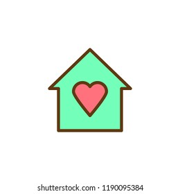 House with heart filled outline icon, line vector sign, linear colorful pictogram isolated on white. Love house symbol, logo illustration. Pixel perfect vector graphics