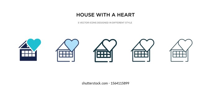 house with a heart icon in different style vector illustration. two colored and black house with a heart vector icons designed in filled, outline, line and stroke style can be used for web, mobile,