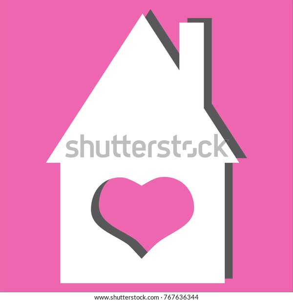 Terrific House Heart Icon Isolated On Pink Stock Vector Royalty Free Home Remodeling Inspirations Genioncuboardxyz