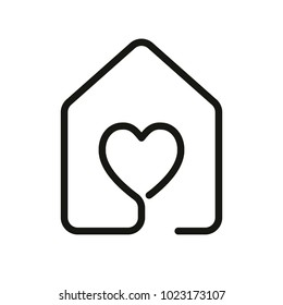 house with heart icon. line style