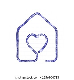 house with heart icon. line style. Hand drawn sketched picture with scribble fill. Blue ink. Doodle on white background