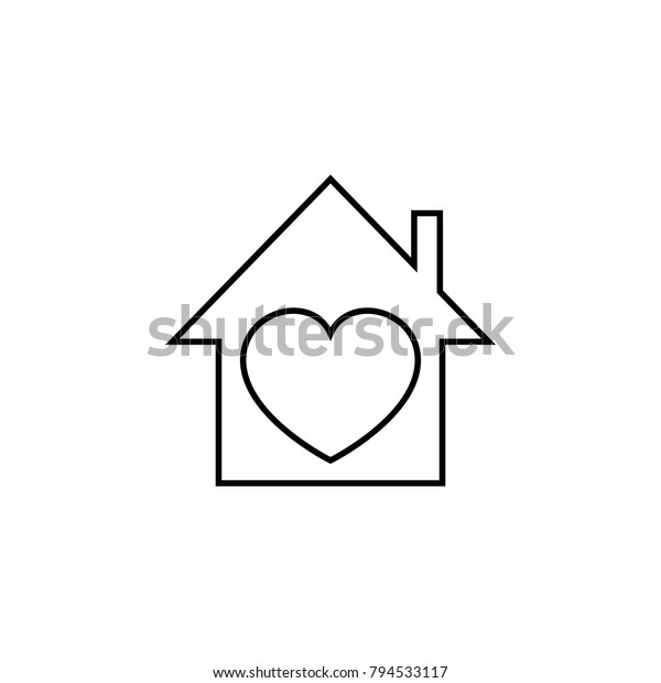 Stupendous House Heart Icon Love Valentines Day Stock Vector Royalty Home Remodeling Inspirations Genioncuboardxyz