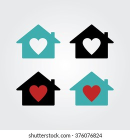 House with Heart Icon. Real estate house logo concept.