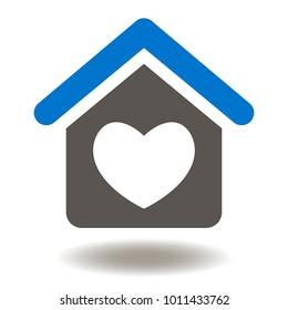 House Heart Icon Vector. Home Healthcare Illustration. Family Doctor Logo Symbol.