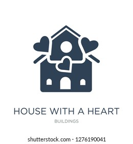 house with a heart icon vector on white background, house with a heart trendy filled icons from Buildings collection, house with a heart vector illustration