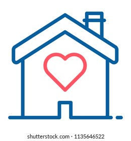 House with a heart shape inside. Love home icon. Vector thin line illustration concept for wedding services, love, romance and volunteering and charity organizations, social services.