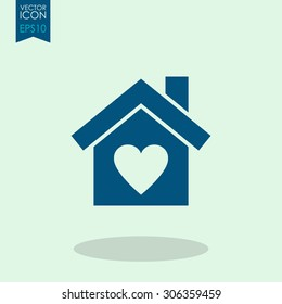 House with heart vector icon.