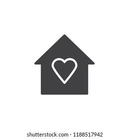 House with heart vector icon. filled flat sign for mobile concept and web design. Love house simple solid icon. Symbol, logo illustration. Pixel perfect vector graphics
