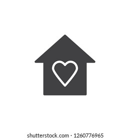 House with heart vector icon. filled flat sign for mobile concept and web design. Love home simple solid icon. Symbol, logo illustration. Pixel perfect vector graphics