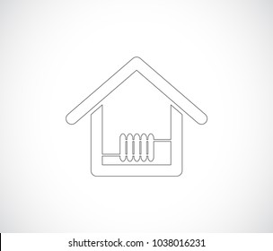house with heat outline icon