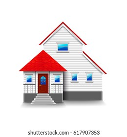 House with high foundation isolated photo-realistic vector illustration