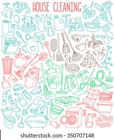 House and home cleaning themed doodle set. Various equipment, tools and  facilities for washing, dusting, cleaning. Freehand vector sketches isolated over white background.