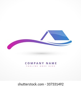 house or home company logo design illustration