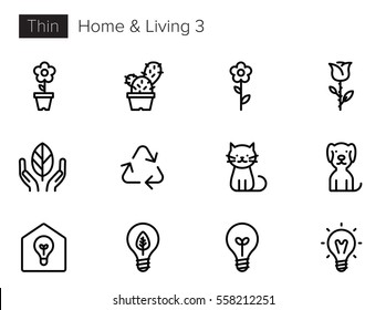 House, Home & Living Line Vector icons set