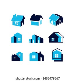 house home logo and icon set collection vector template blue property real estate