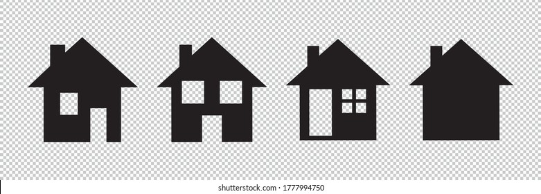 House and home simple symbols icon set for screen template on checked transparent background. Vector illustration. Eps 10 vector file.