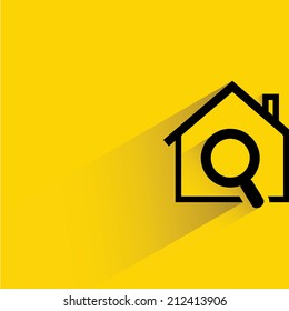 house hunting, house and magnifier glass on yellow background, flat and shadow theme design