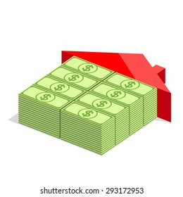 House icon with blocks from bundles of dollars and with red roof. Money is the basic building material. Building concept