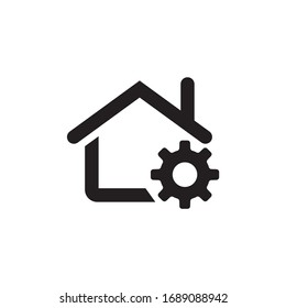 House icon, buildings icon with settings sign. House icon and setup. Vector illustration