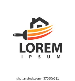 House Icon design. House painting vector logo.