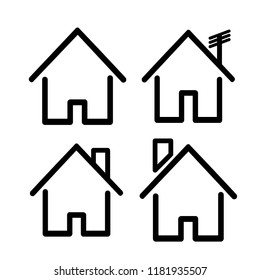 House icon with door, outline design vector