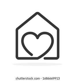 House icon with heart. Vector House icon. Black home icon. Construction concept.