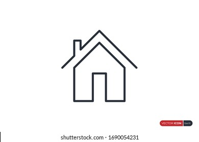 House Icon Line isolated on White Background. Flat Vector Icon Design Template Element.