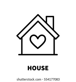 House icon or logo in modern line style. High quality black outline pictogram for web site design and mobile apps. Vector illustration on a white background.