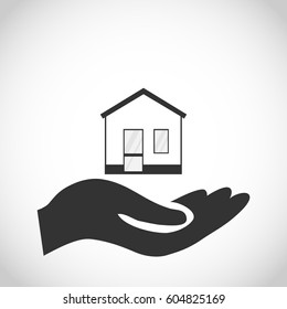 House icon on the hand. Flat design, vector illustration, vector.
