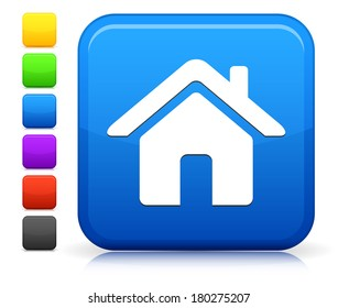 House Icon on Square Internet Button Collection