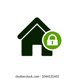 House icon with padlock sign. House icon and security, protection, privacy symbol. Vector icon