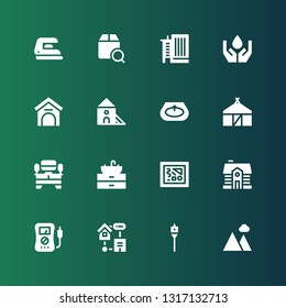 house icon set. Collection of 16 filled house icons included Landscape, Auger, Smart home, Voltmeter, House, Painting, Sink, Tv table, Hut, Indoor, Kennel, Ecology, Office building