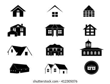 house icon set. A set of icons of the house of black color on a white background