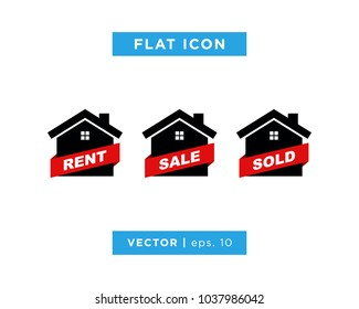 House Icon Set With Rent Sale Sold Sign Ribbon Vector Logo Template
