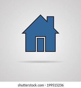 House icon with shadow. vector illustration. eps 10.