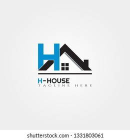 House icon template with H letter, home creative vector logo design, architecture,building and construction, illustration element