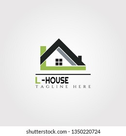 House icon template with L letter, home creative vector logo design, architecture,building and construction, illustration element
