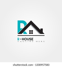 House icon template with R letter, home creative vector logo design, building and construction. Real estate logo