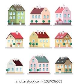 House Icon. Vector Houses Symbols. Building Flat Design Symbol Isolated on White Background.