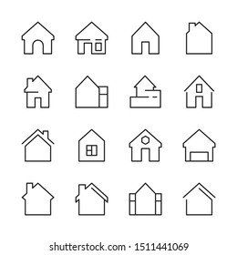 House icon. Web symbols buildings interior garage doors roof house vector linear template